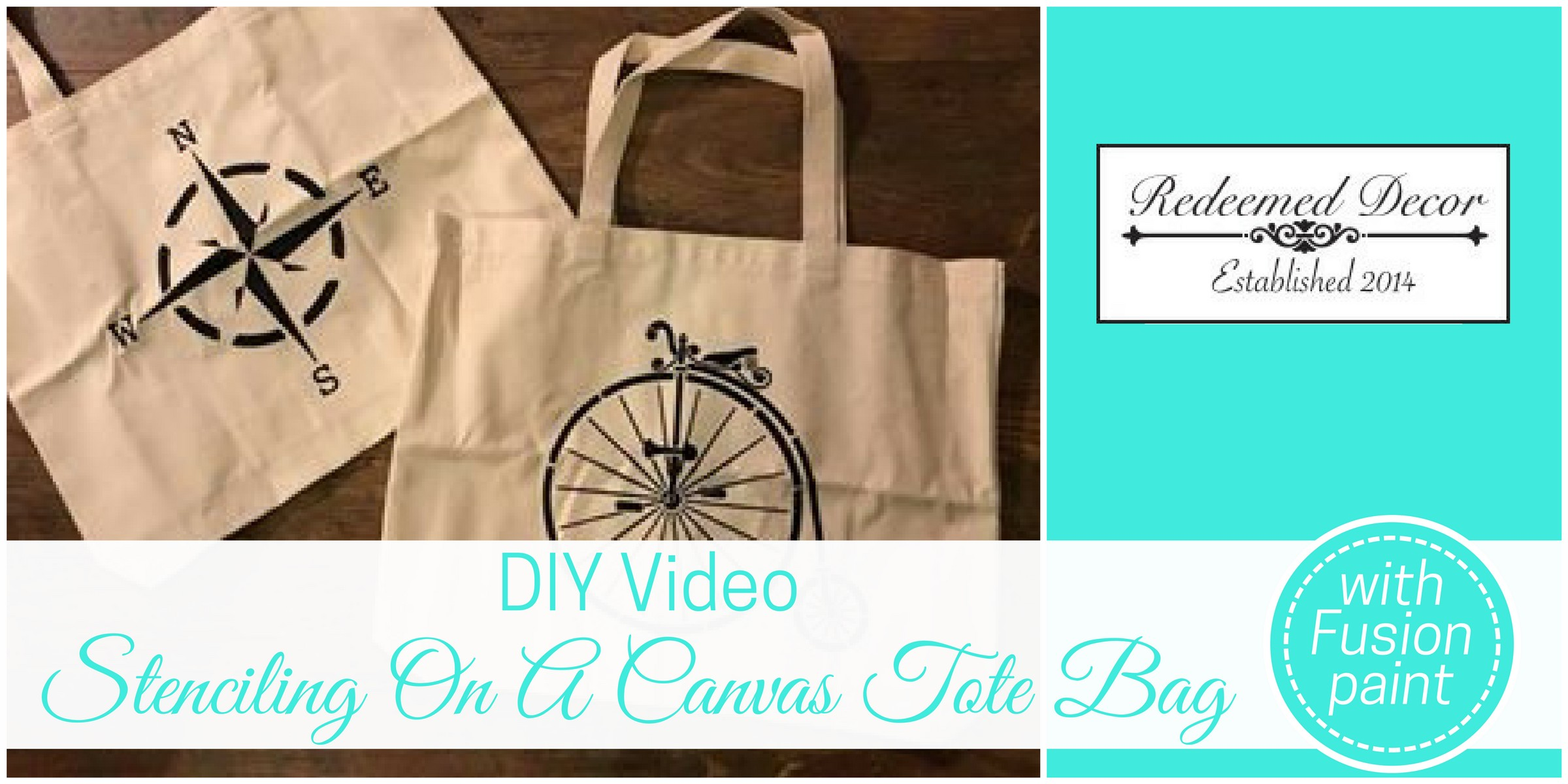 Canvas tote bags with stencils and title of blog