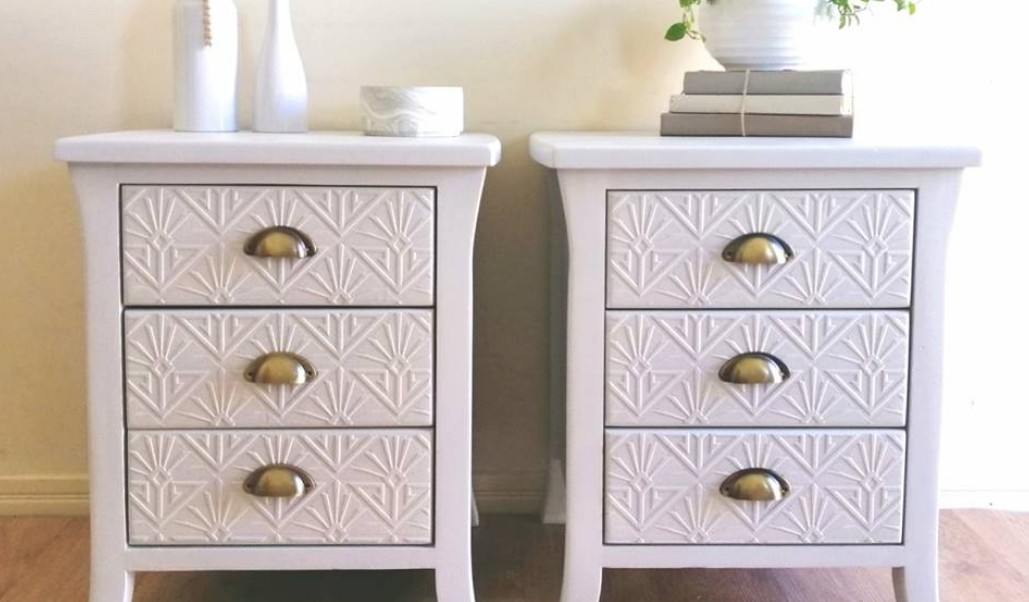 Two bedside tables painted in soft gray