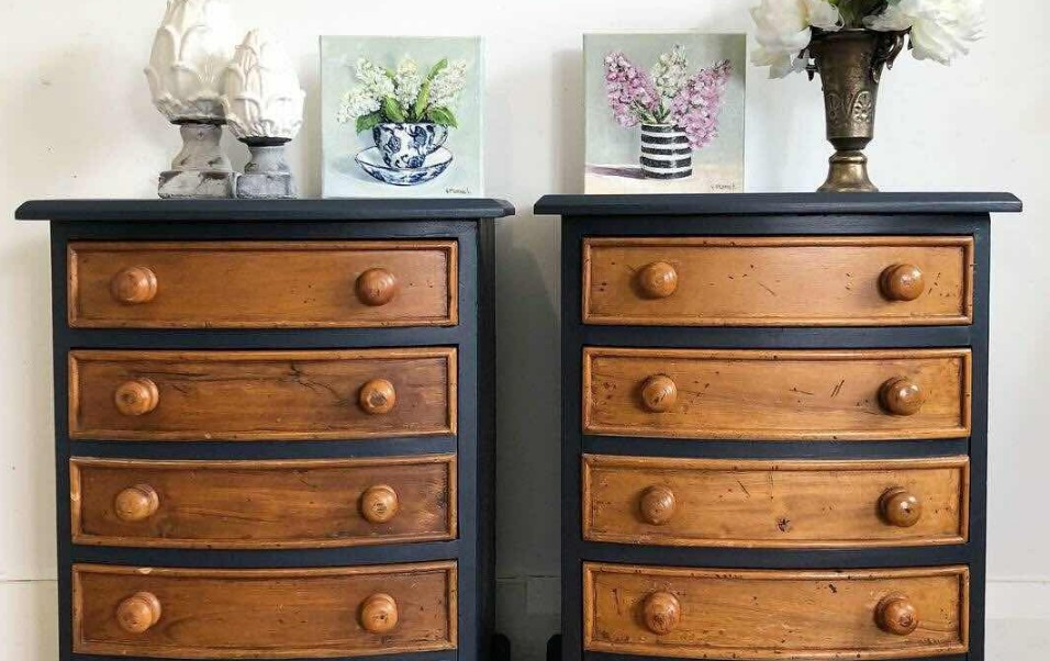 Refurbished dressers painted in Midnight Blue