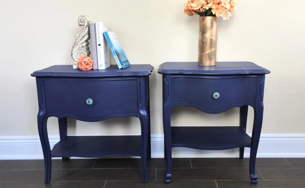Night tables painted in dark blue by Evergreen Expressions