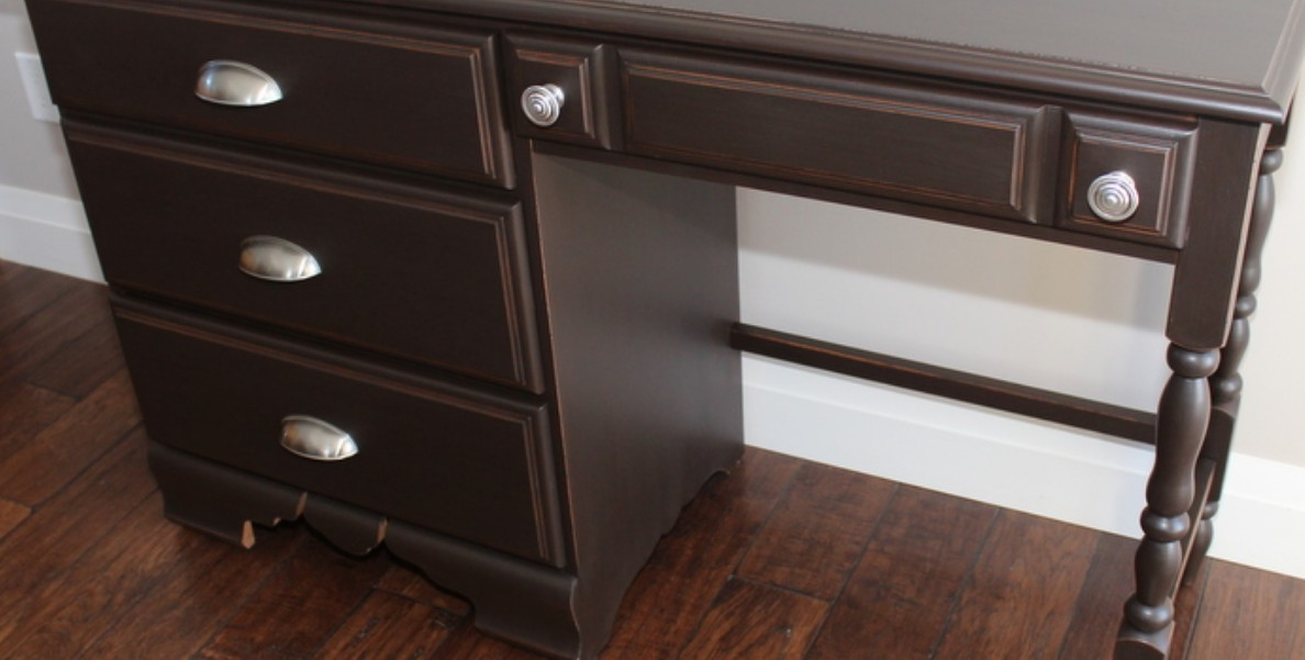 Chocolate painted desk by Creative Moments