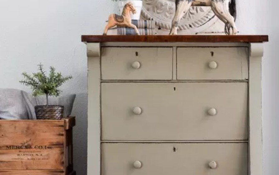 Lichen colored drawers by Lost & Found