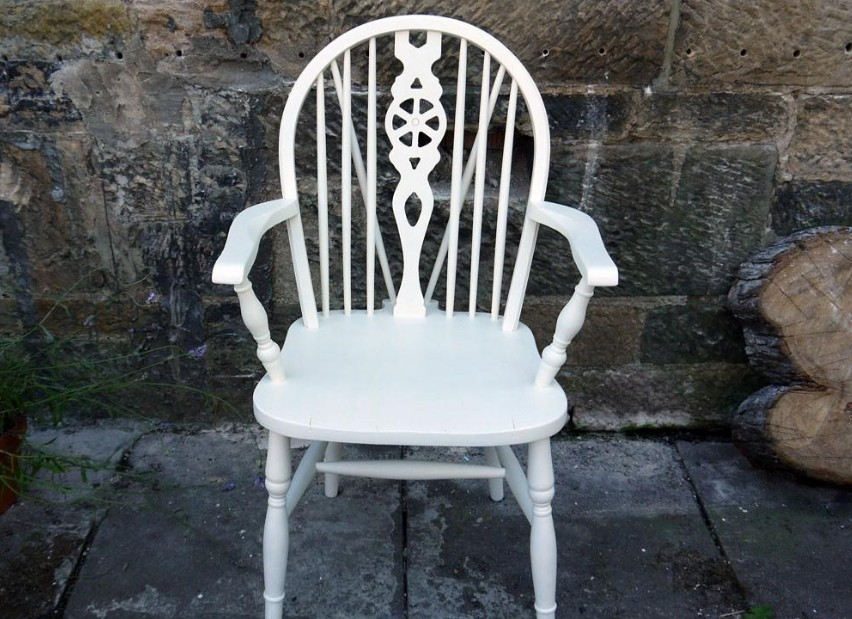 Hand painted off-white chair by Shirley, Emily Rose Vintage