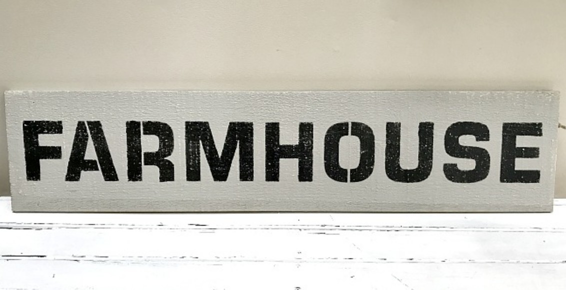 Stenciled and painted sign by Homeroad