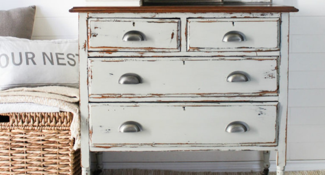 Chippy, weathered painted dresser