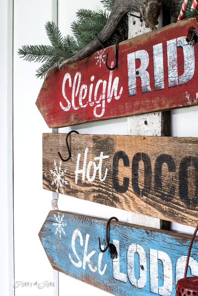 Christmas directional stenciled signs