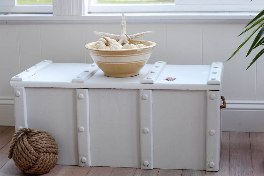 Coastal storage chest painted in white