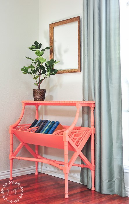 Coral painted vintage library table