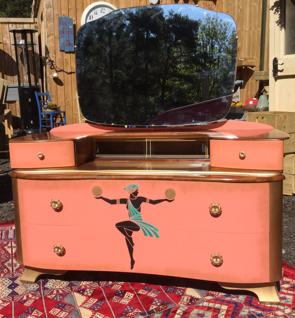 Vintage dressing table in coral