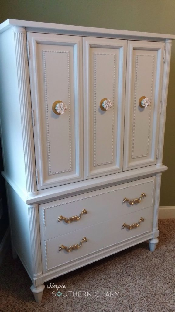 Craft cabinet painted in white