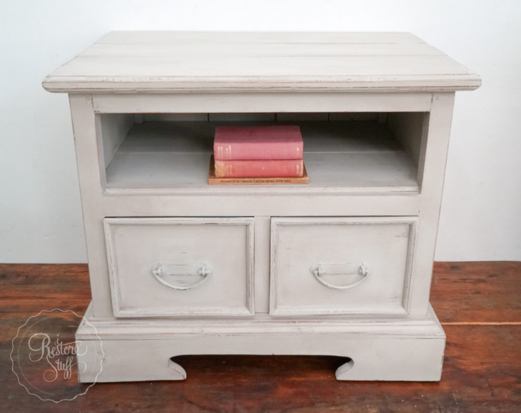 TV side table painted in greyish white