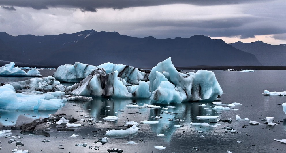 Icebergs melting into a lake
