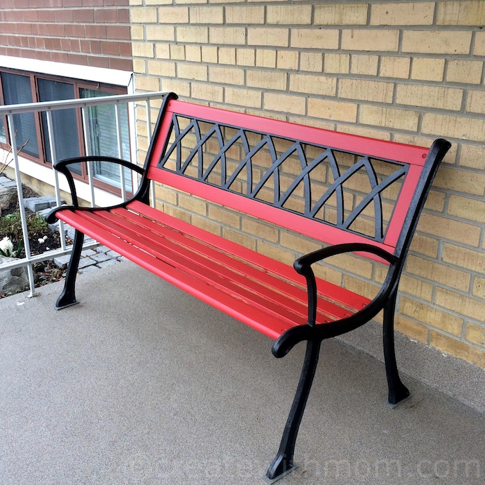 Bright red bench