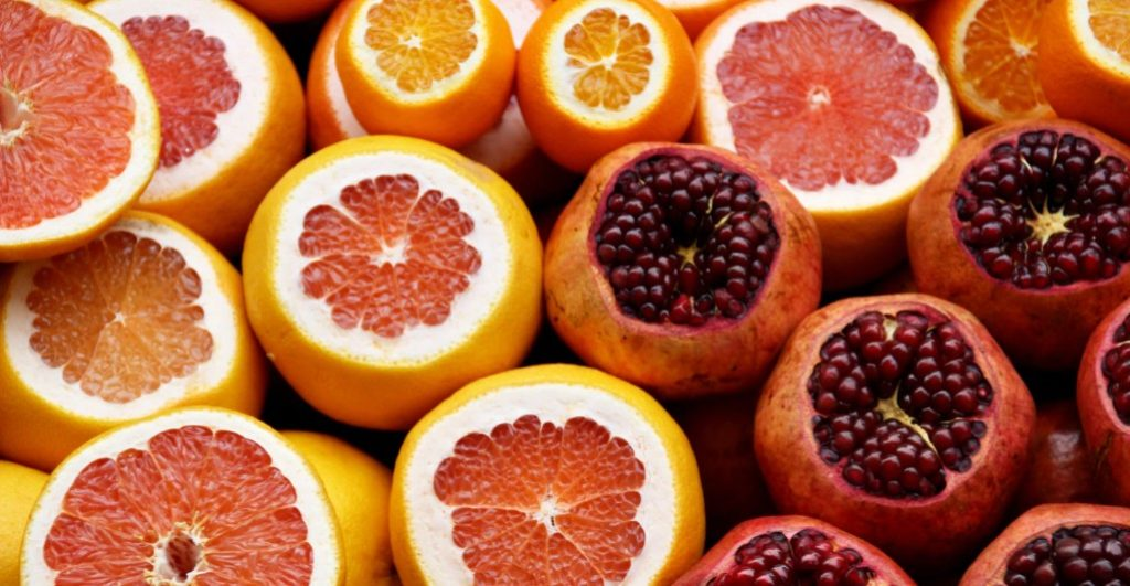 Citrus fruits and pomegranates