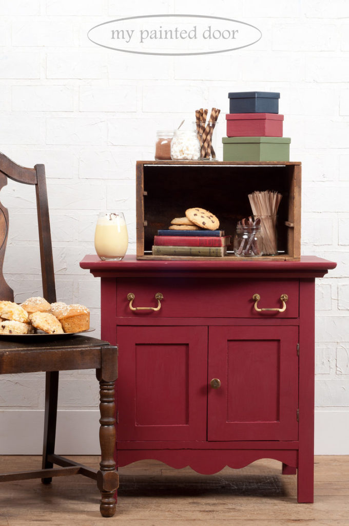 Cranberry painted washstand