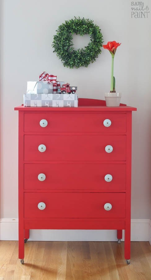 Vintage dresser painted in bright red