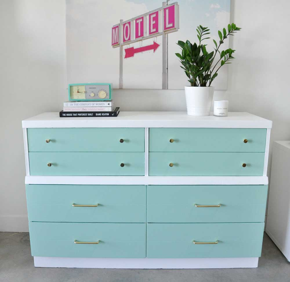 Dresser painted in light blue