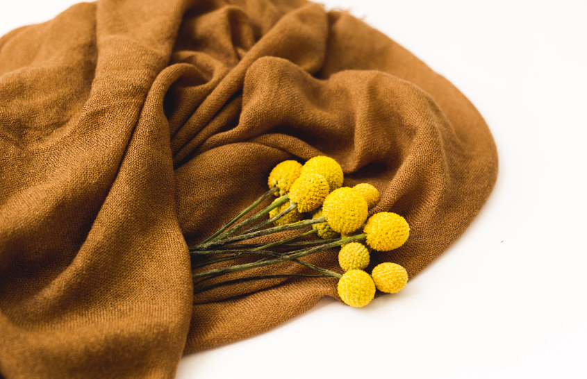 Yellow flowers and a brown blanket