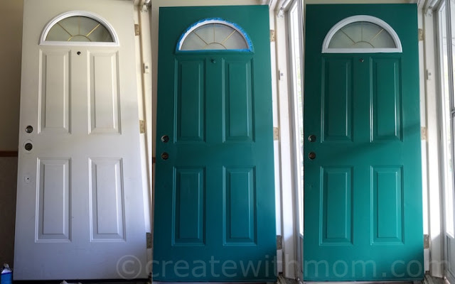 White to teal blue door