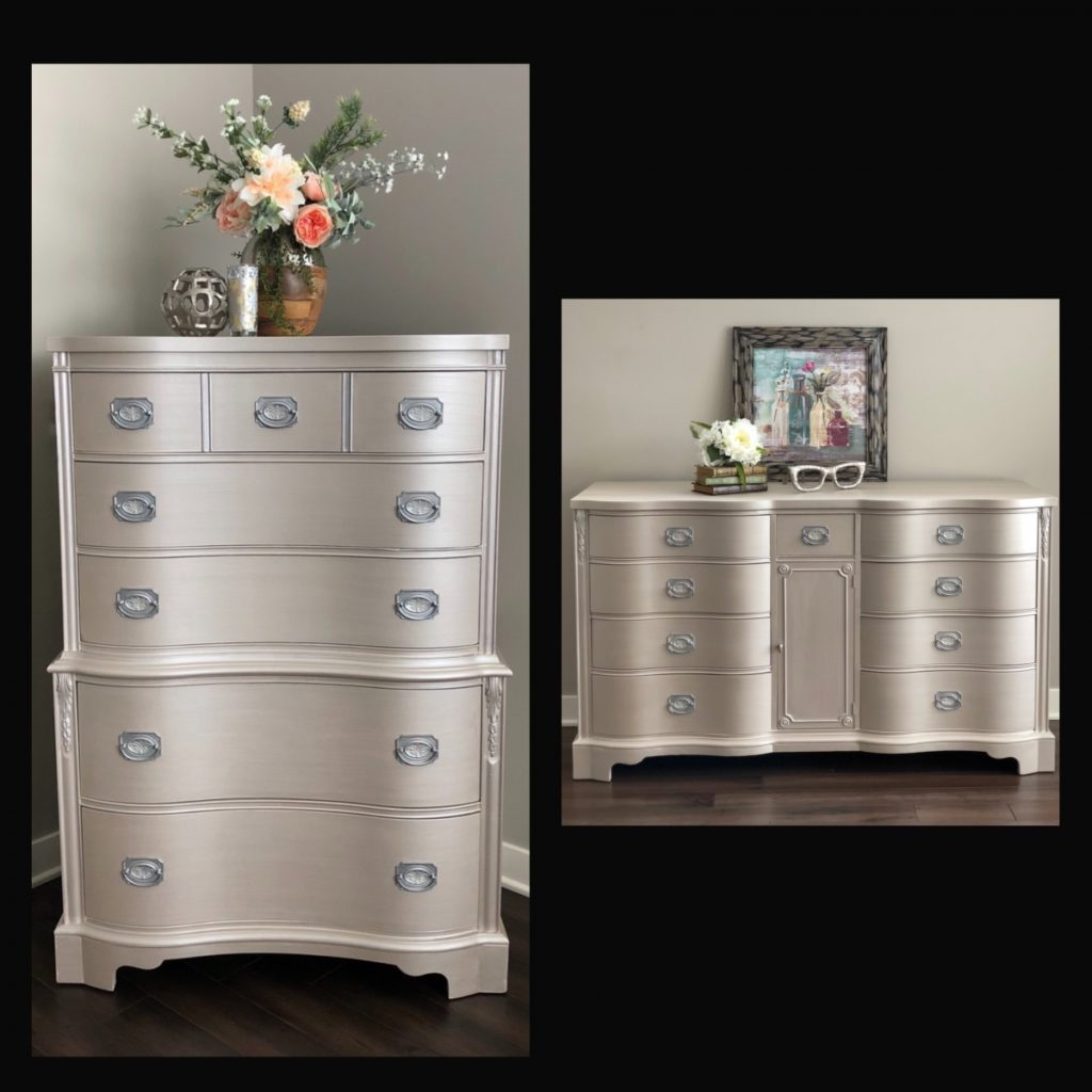 Dressers in metallic paint
