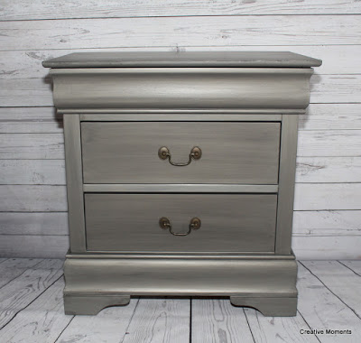 Metallic grey dresser